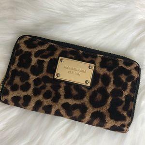 Michael Kors Leather Calf hair leopard wallet